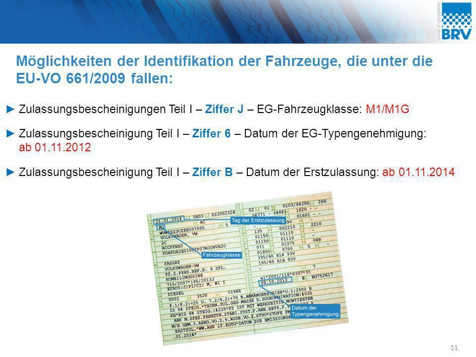 Möglichkeiten der Identifikation der Fahrzeuge, die unter die EU-VO 661/2009 fallen: