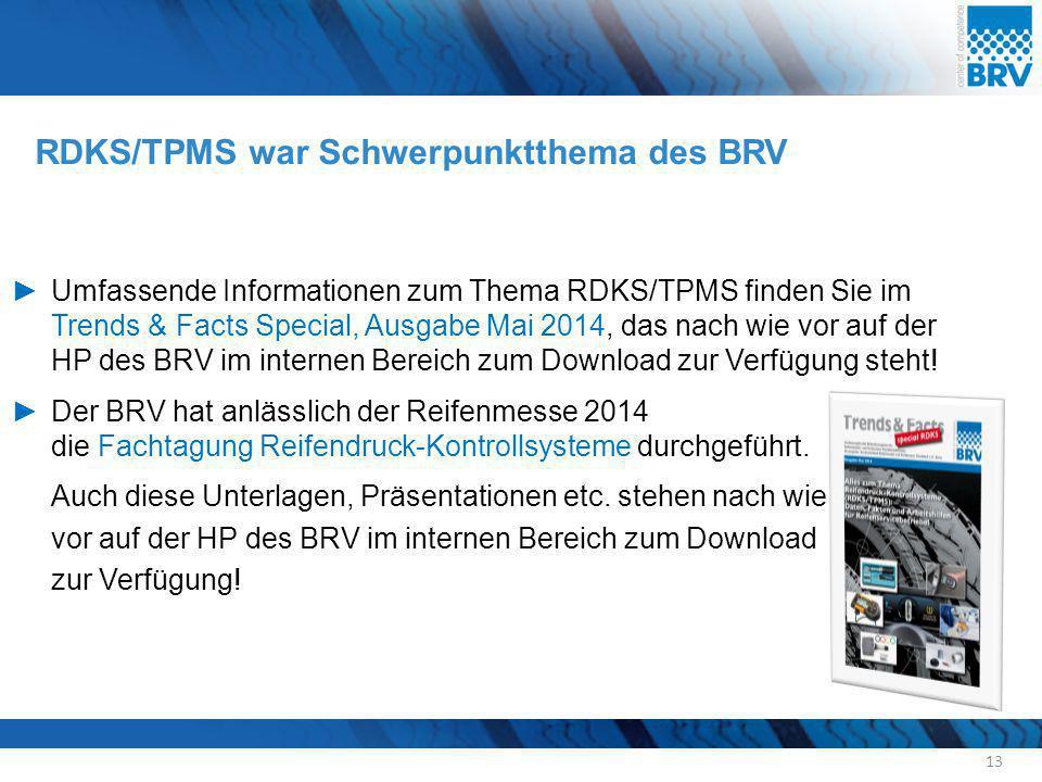 RDKS/TPMS war Schwerpunktthema des BRV