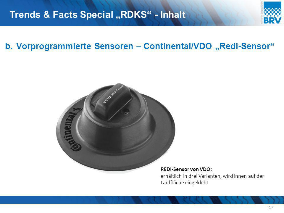 "b. Vorprogrammierte Sensoren – Continental/VDO ""Redi-Sensor"