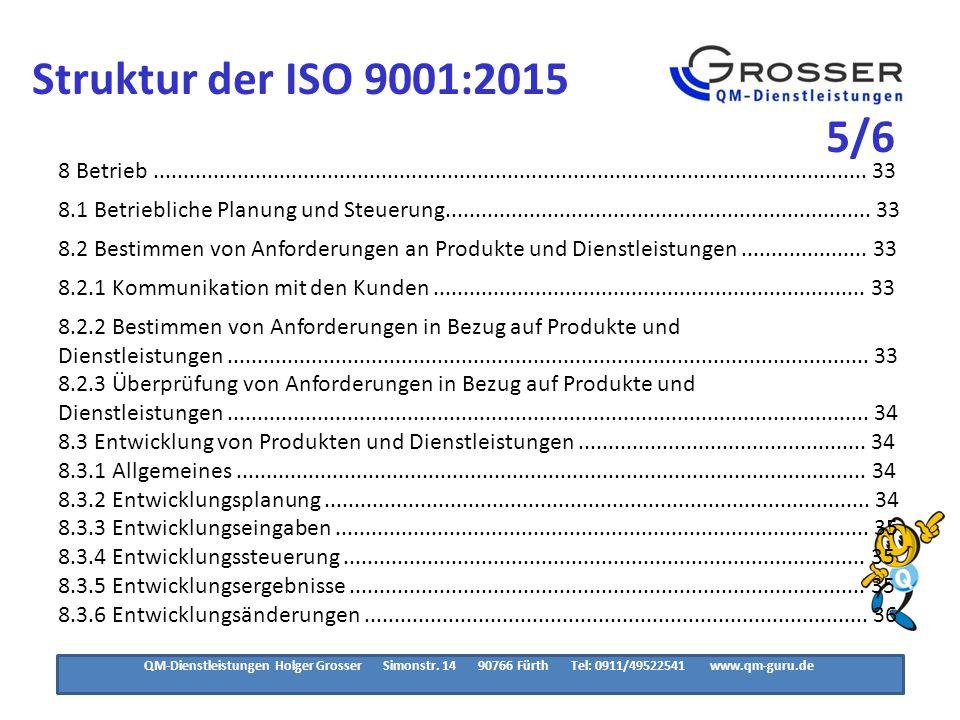 Struktur der ISO 9001:2015 6/6. 8.4 Kontrolle von extern bereitgestellten Produkten und Dienstleistungen ............... 36.