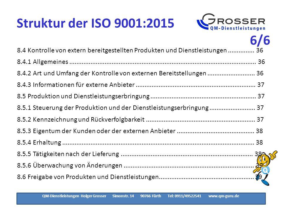 Struktur der ISO 9001:2015 3/3. 8.7 Steuerung nichtkonformer Prozessergebnisse, Produkte und.