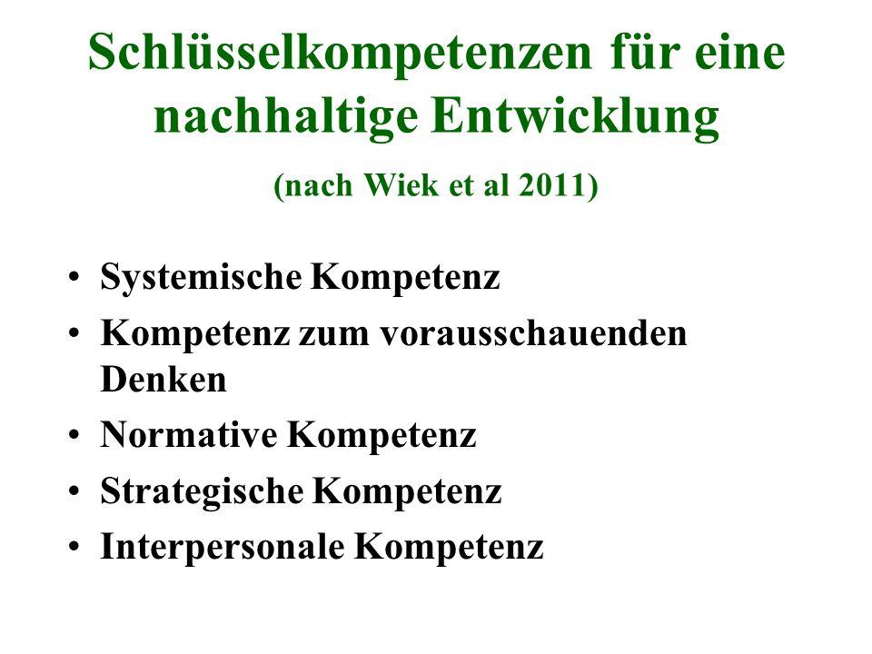 Schlüsselkompetenzen für eine nachhaltige Entwicklung (nach Wiek et al 2011)