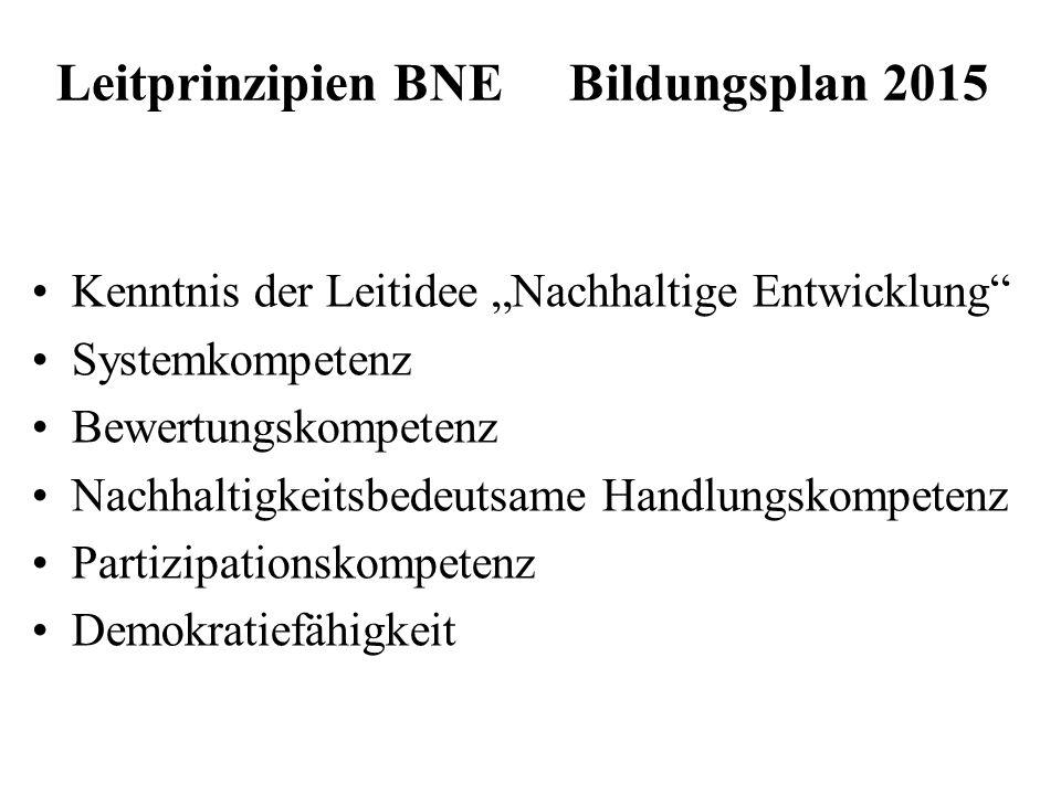 Leitprinzipien BNE Bildungsplan 2015