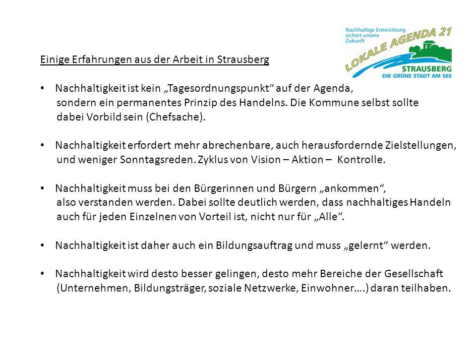 Einige Erfahrungen aus der Arbeit in Strausberg