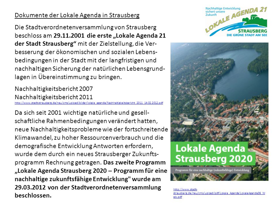 Dokumente der Lokale Agenda in Strausberg