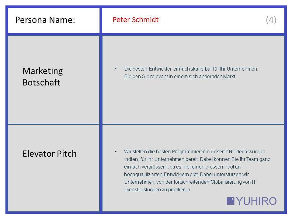 Persona Name: (4) Marketing Botschaft Elevator Pitch Peter Schmidt