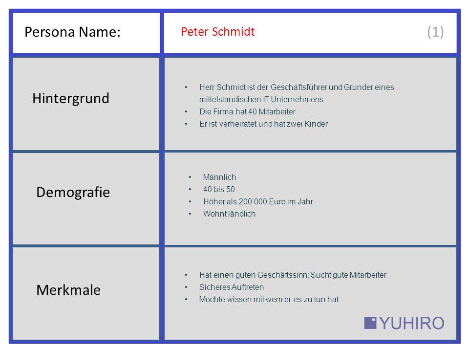 Persona Name: (1) Hintergrund Demografie Merkmale Peter Schmidt