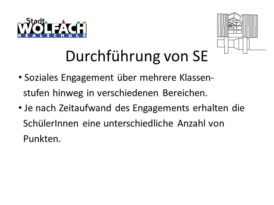 Durchführung von SE Soziales Engagement über mehrere Klassen-