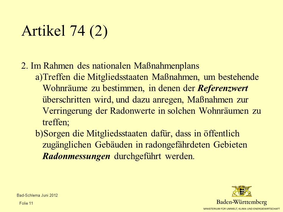 Artikel 74 (2) 2. Im Rahmen des nationalen Maßnahmenplans