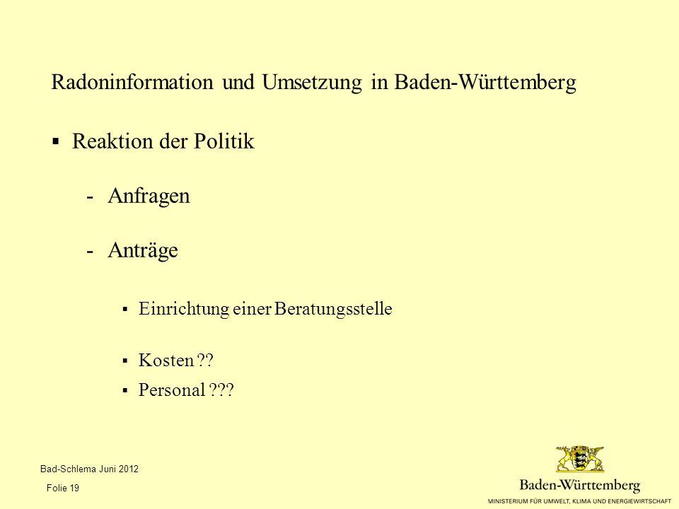 Radoninformation und Umsetzung in Baden-Württemberg