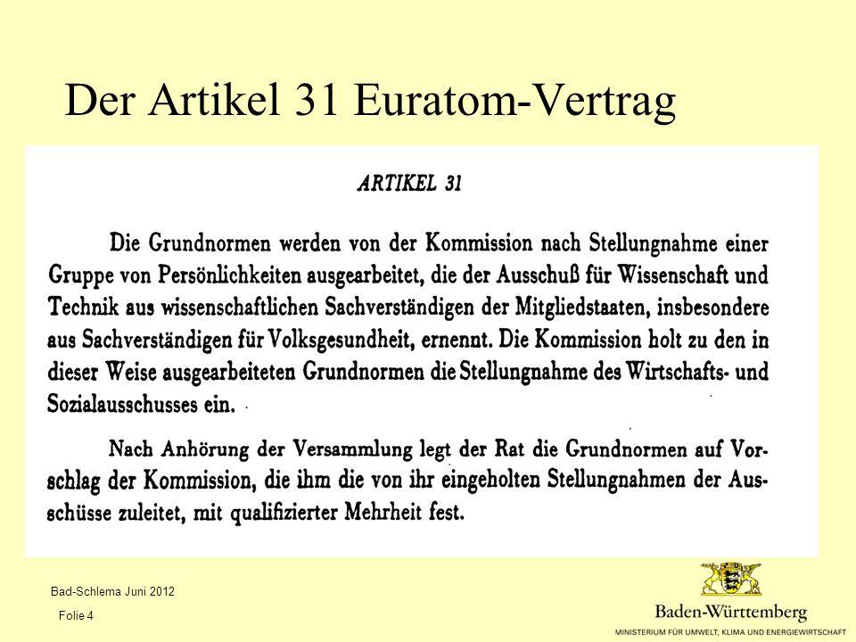 Der Artikel 31 Euratom-Vertrag
