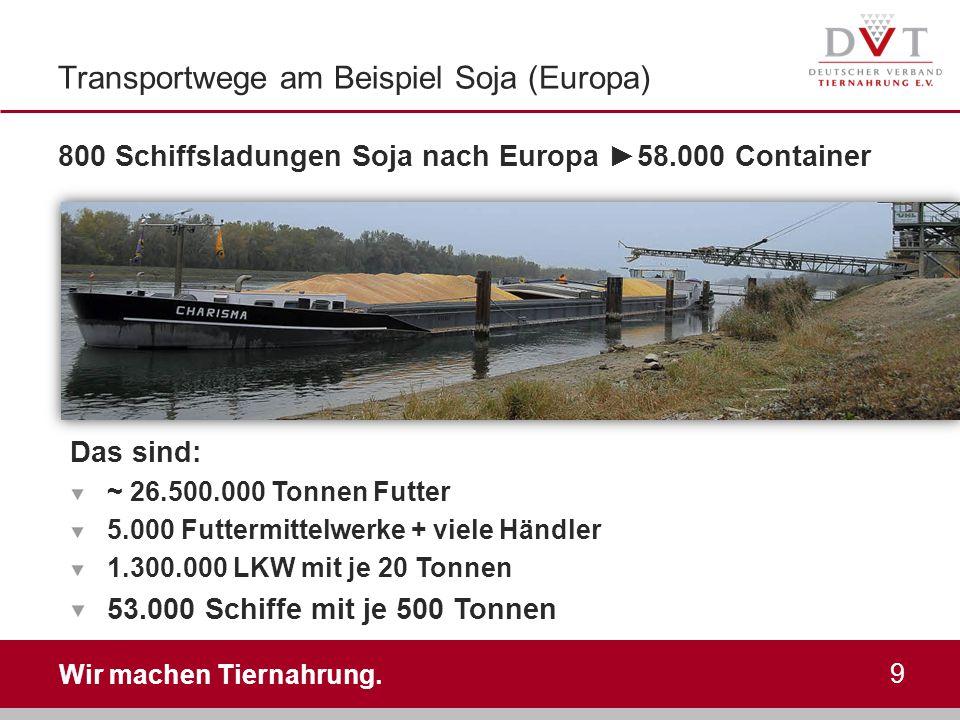 Transportwege am Beispiel Soja (Europa)