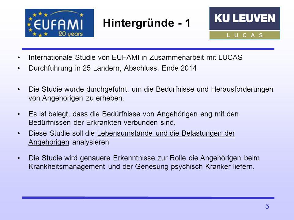 Hintergründe - 1 Internationale Studie von EUFAMI in Zusammenarbeit mit LUCAS. Durchführung in 25 Ländern, Abschluss: Ende 2014.