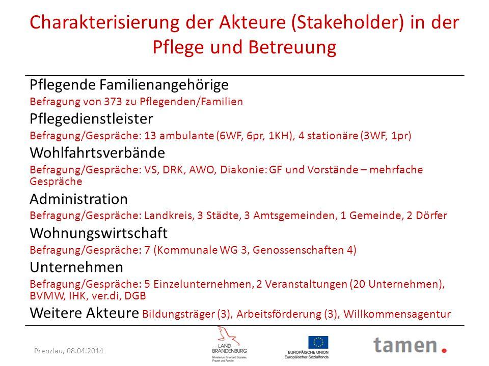 Charakterisierung der Akteure (Stakeholder) in der Pflege und Betreuung