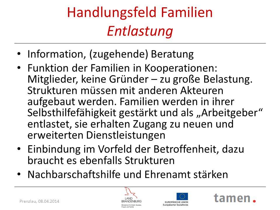 Handlungsfeld Familien Entlastung