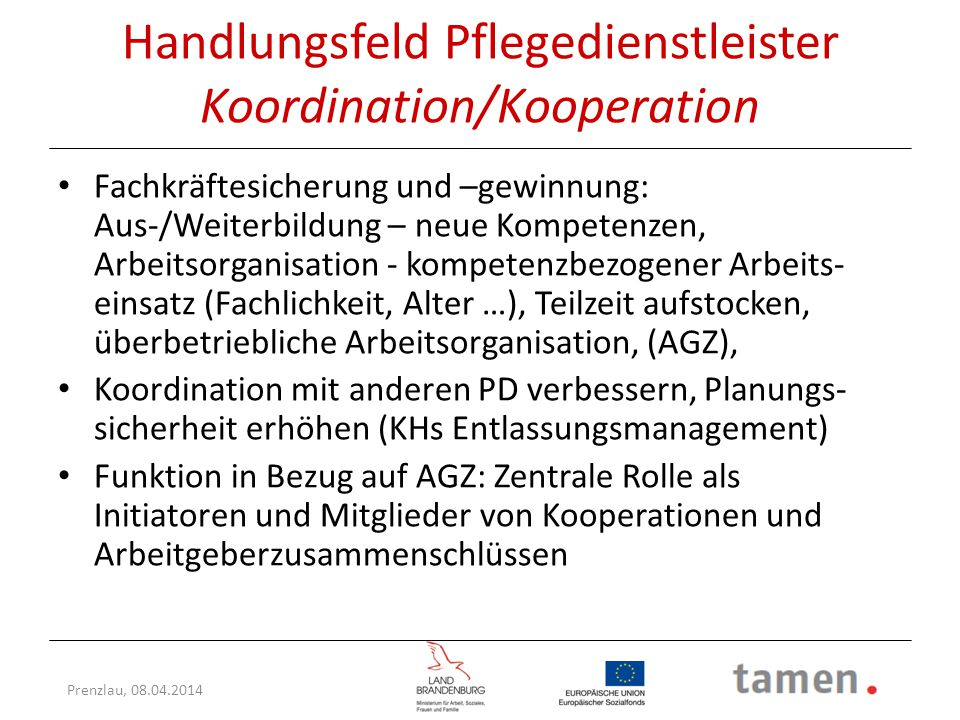 Handlungsfeld Pflegedienstleister Koordination/Kooperation