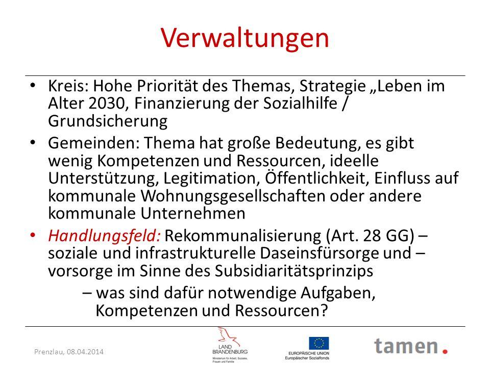 """Verwaltungen Kreis: Hohe Priorität des Themas, Strategie """"Leben im Alter 2030, Finanzierung der Sozialhilfe / Grundsicherung."""