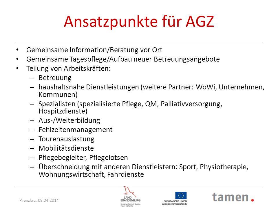 Ansatzpunkte für AGZ Gemeinsame Information/Beratung vor Ort
