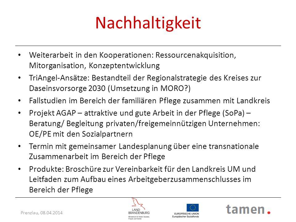 Nachhaltigkeit Weiterarbeit in den Kooperationen: Ressourcenakquisition, Mitorganisation, Konzeptentwicklung.