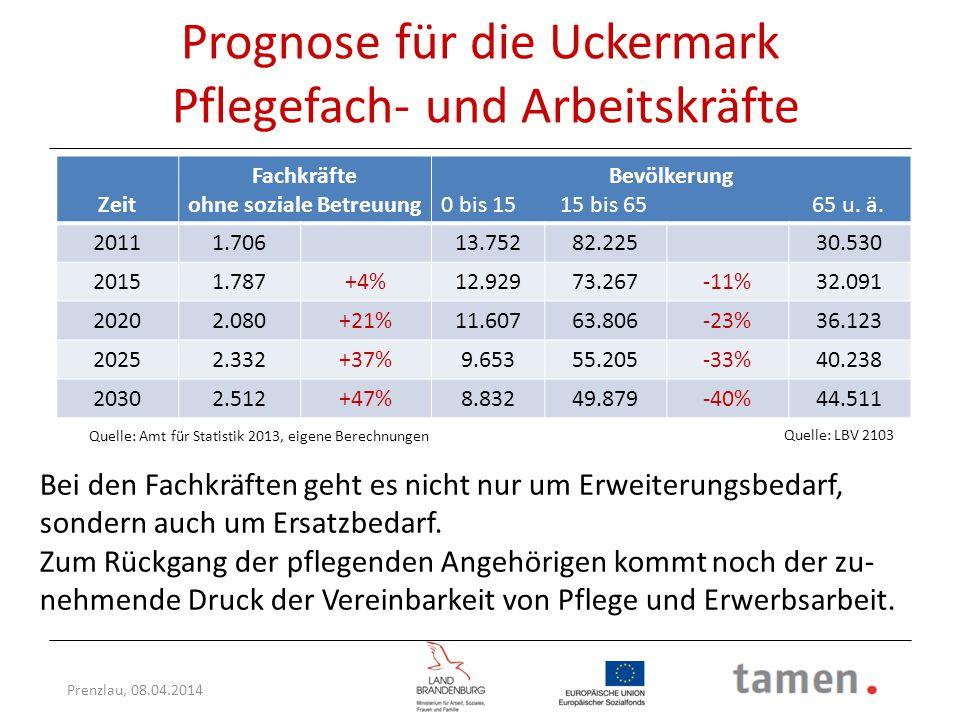 Prognose für die Uckermark Pflegefach- und Arbeitskräfte