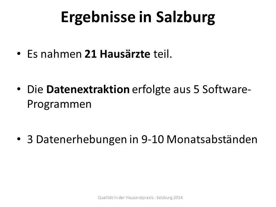 Ergebnisse in Salzburg