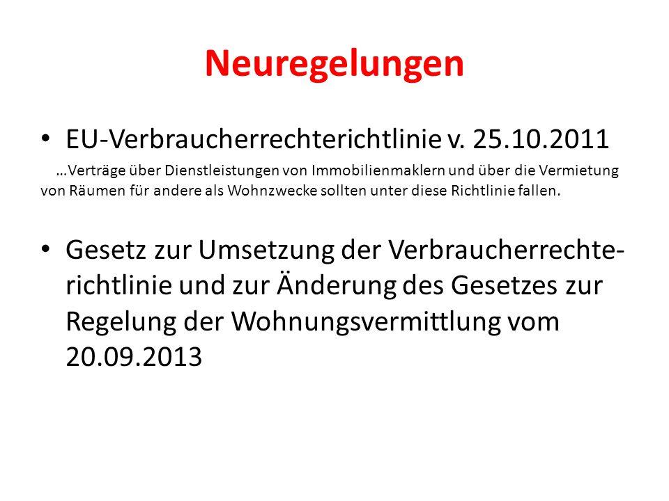 Neuregelungen EU-Verbraucherrechterichtlinie v. 25.10.2011