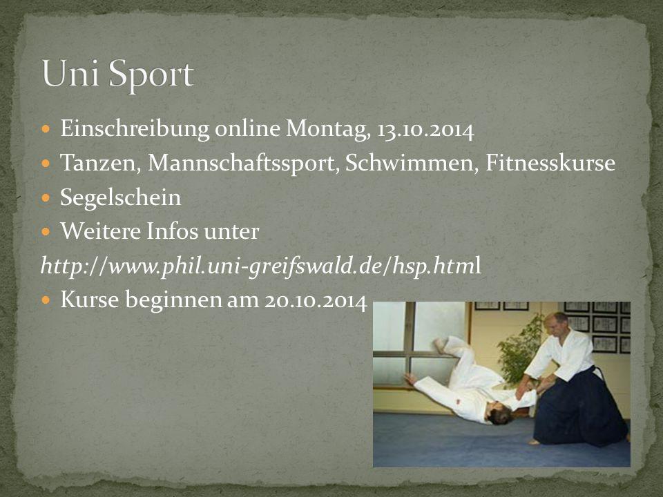 Uni Sport Einschreibung online Montag, 13.10.2014