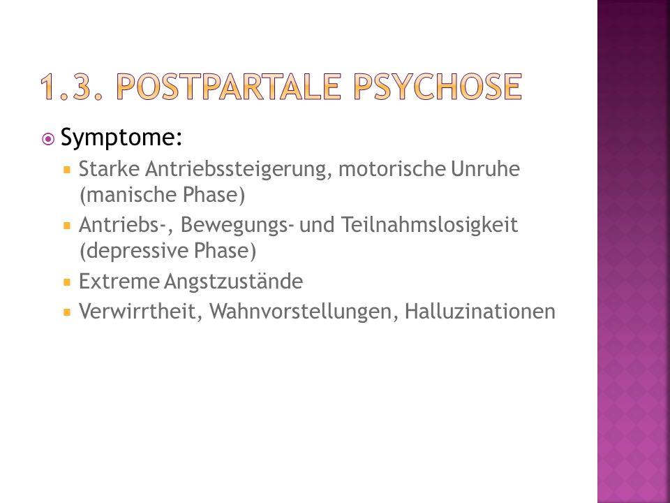 1.3. postpartale Psychose Symptome: