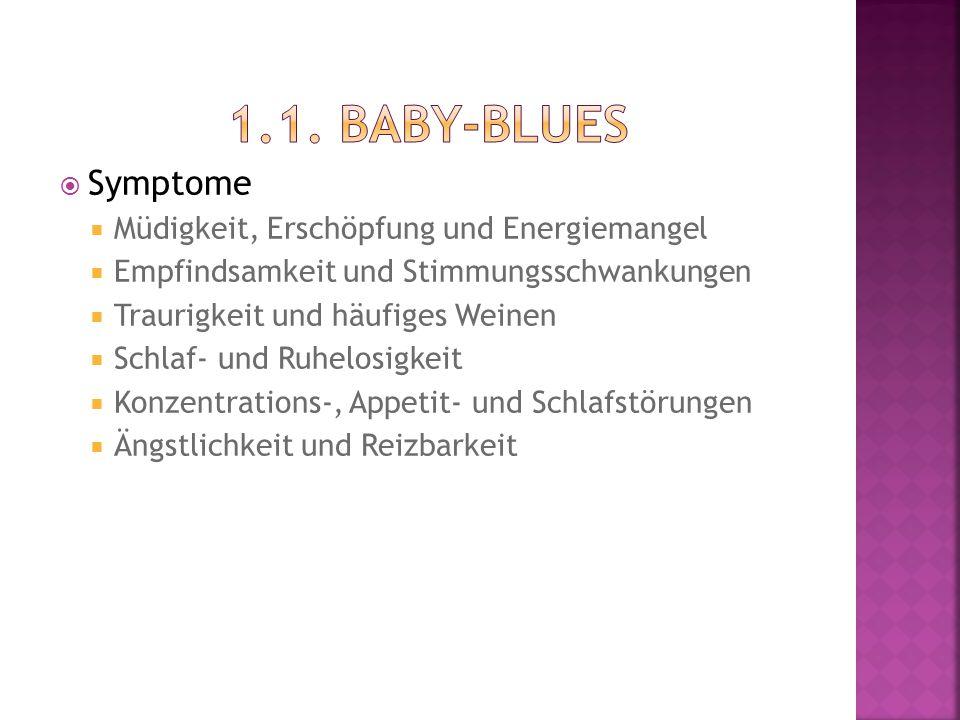 1.1. Baby-Blues Symptome Müdigkeit, Erschöpfung und Energiemangel