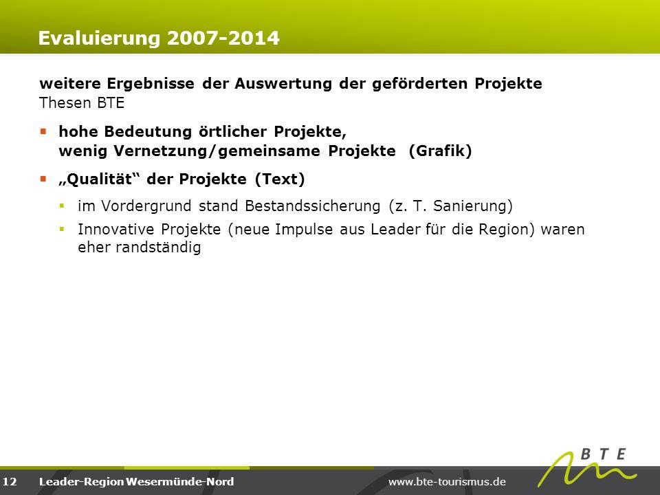 Evaluierung 2007-2014 weitere Ergebnisse der Auswertung der geförderten Projekte Thesen BTE.