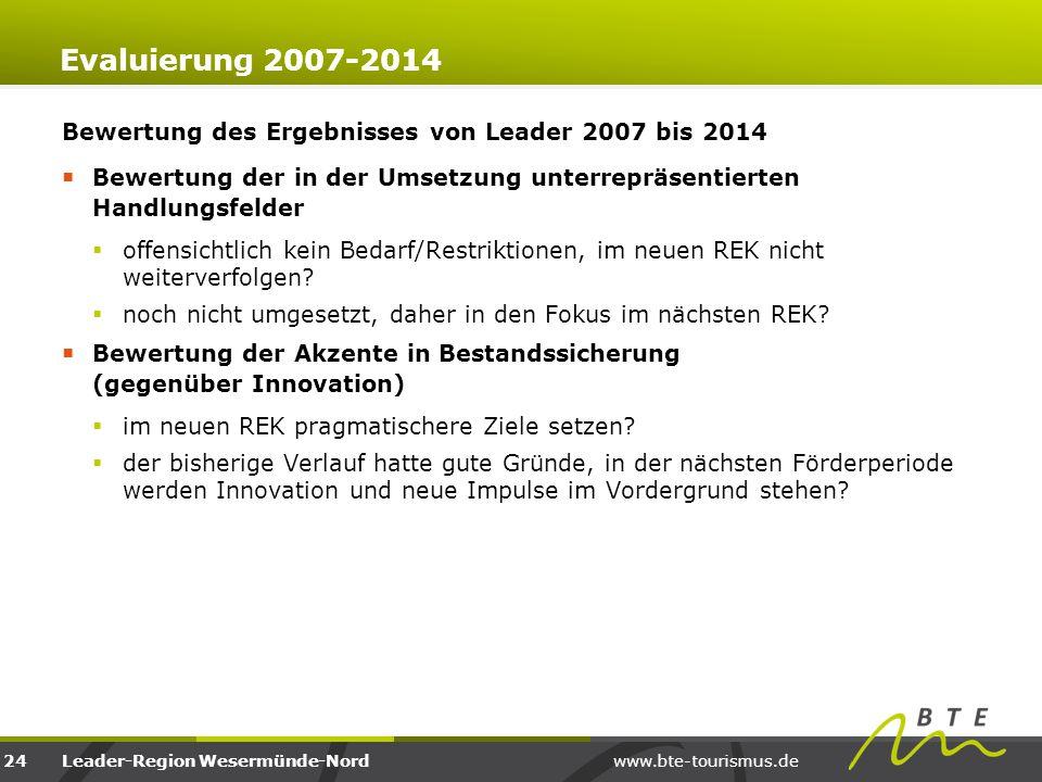 Evaluierung 2007-2014 Bewertung des Ergebnisses von Leader 2007 bis 2014. Bewertung der in der Umsetzung unterrepräsentierten Handlungsfelder.