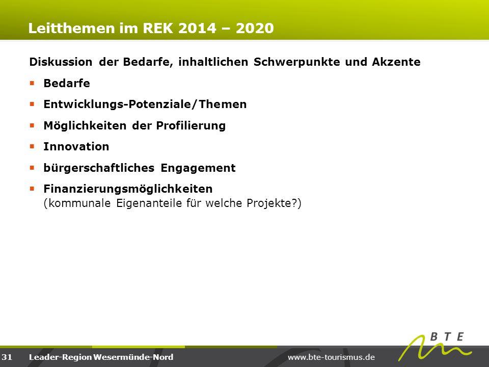 Leitthemen im REK 2014 – 2020 Diskussion der Bedarfe, inhaltlichen Schwerpunkte und Akzente. Bedarfe.