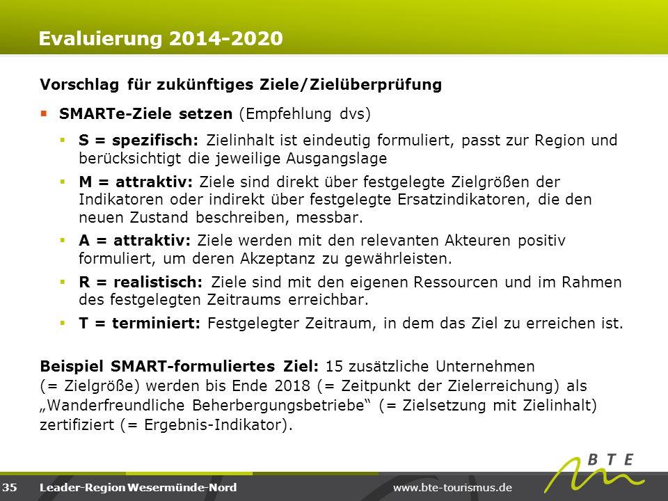 Evaluierung 2014-2020 Vorschlag für zukünftiges Ziele/Zielüberprüfung