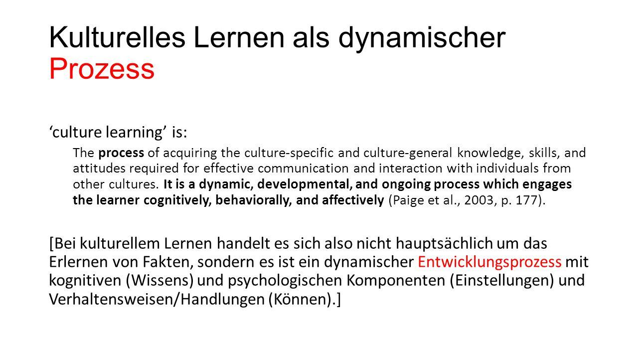 Kulturelles Lernen als dynamischer Prozess