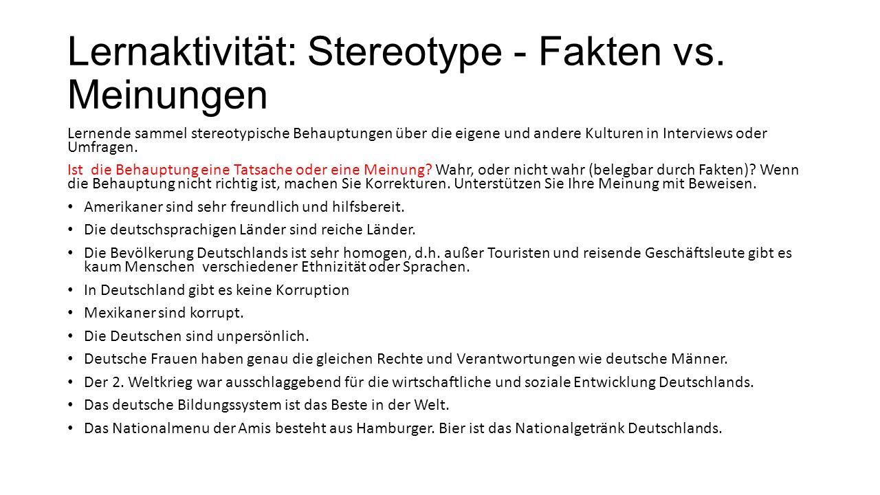 Lernaktivität: Stereotype - Fakten vs. Meinungen