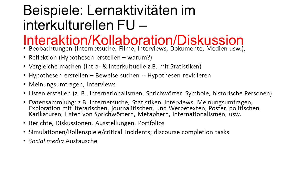Beispiele: Lernaktivitäten im interkulturellen FU – Interaktion/Kollaboration/Diskussion