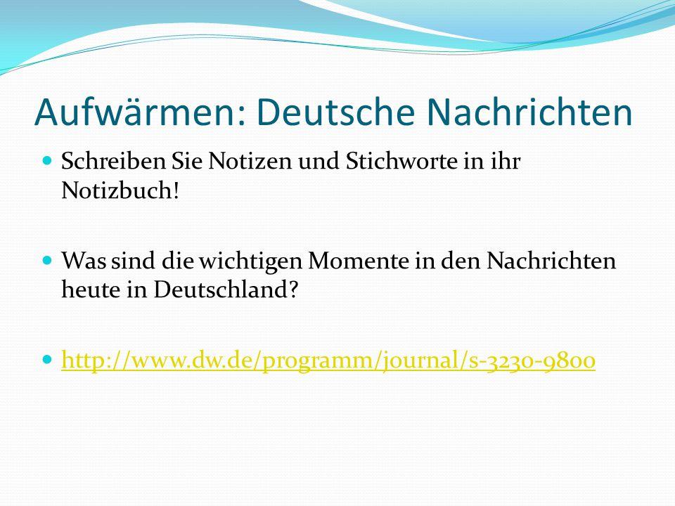 Aufwärmen: Deutsche Nachrichten