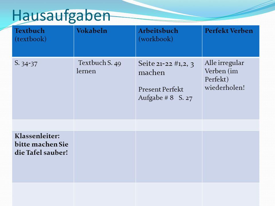 Hausaufgaben Seite 21-22 #1,2, 3 machen Textbuch (textbook) Vokabeln