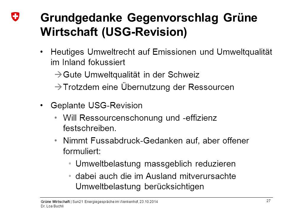 Grundgedanke Gegenvorschlag Grüne Wirtschaft (USG-Revision)