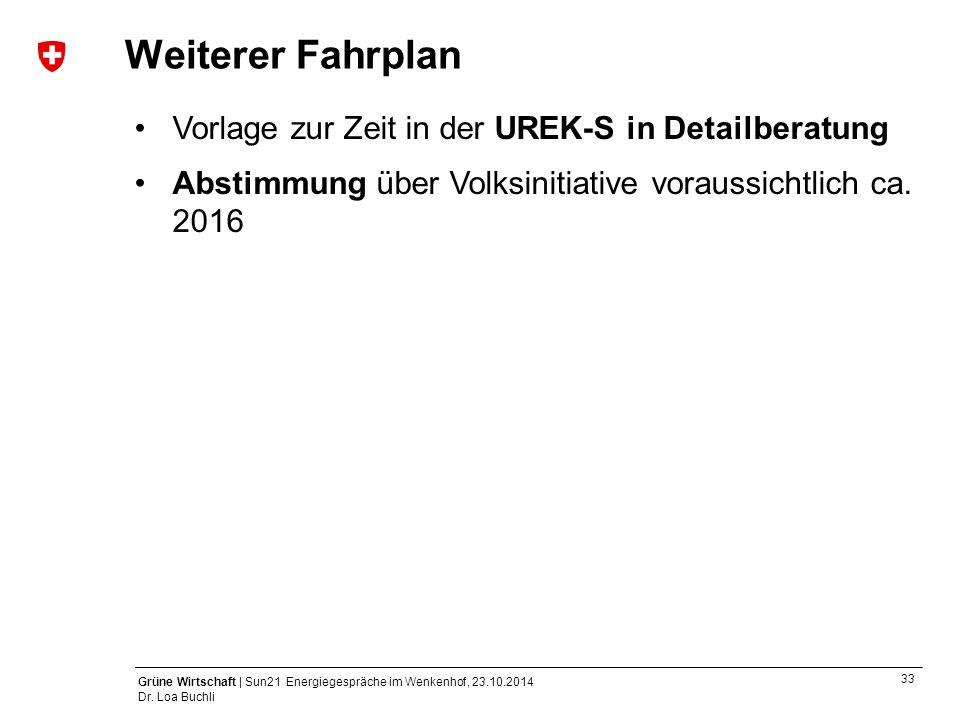 Weiterer Fahrplan Vorlage zur Zeit in der UREK-S in Detailberatung