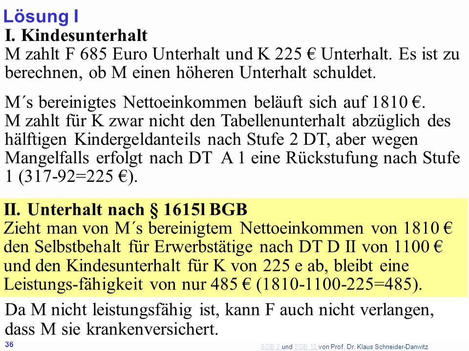 Lösung I I. Kindesunterhalt M zahlt F 685 Euro Unterhalt und K 225 € Unterhalt. Es ist zu berechnen, ob M einen höheren Unterhalt schuldet.