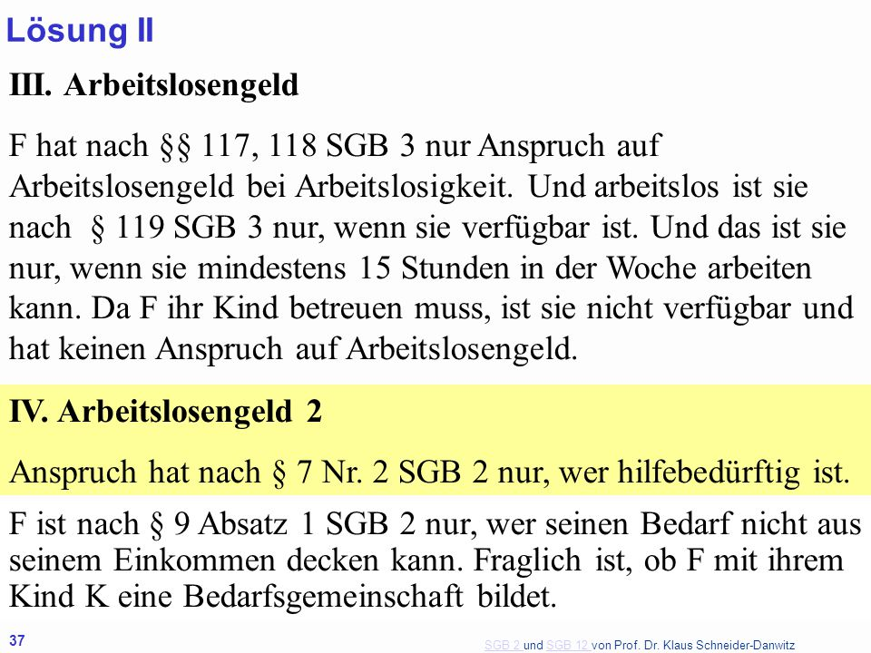 Lösung II III. Arbeitslosengeld.