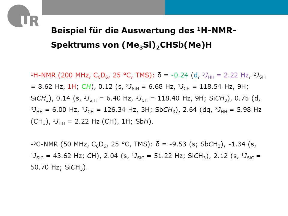 Beispiel für die Auswertung des 1H-NMR- Spektrums von (Me3Si)2CHSb(Me)H
