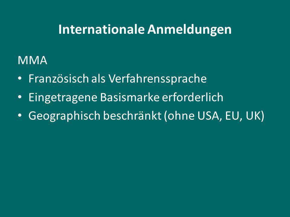 Internationale Anmeldungen