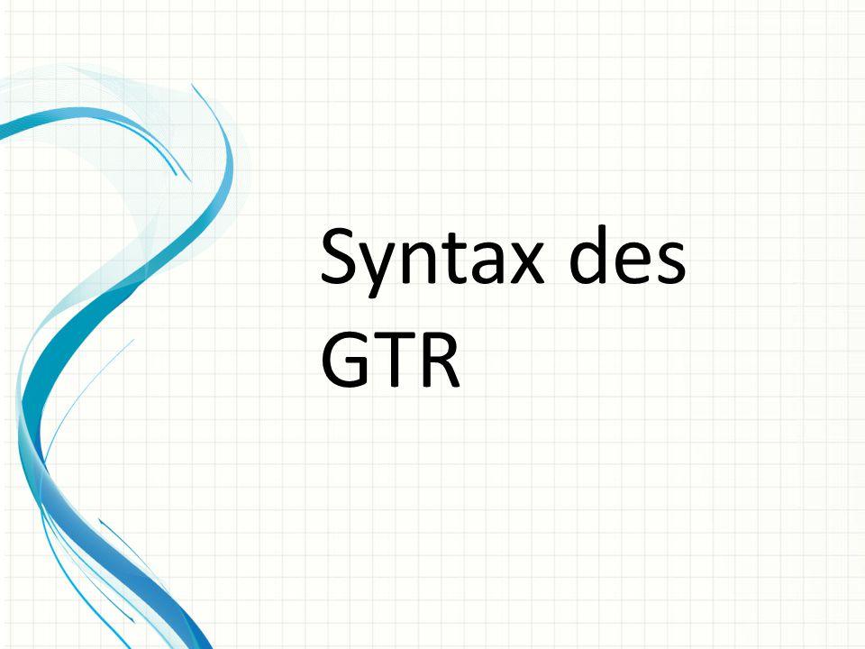 Syntax des GTR