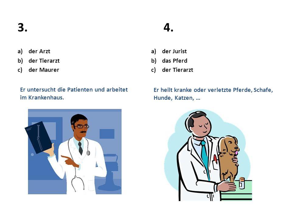 3. 4. der Arzt der Tierarzt der Maurer der Jurist das Pferd