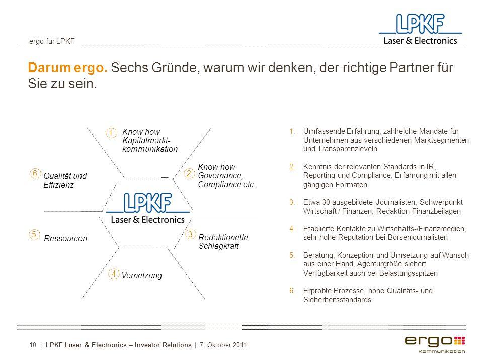 ergo für LPKF Darum ergo. Sechs Gründe, warum wir denken, der richtige Partner für Sie zu sein.