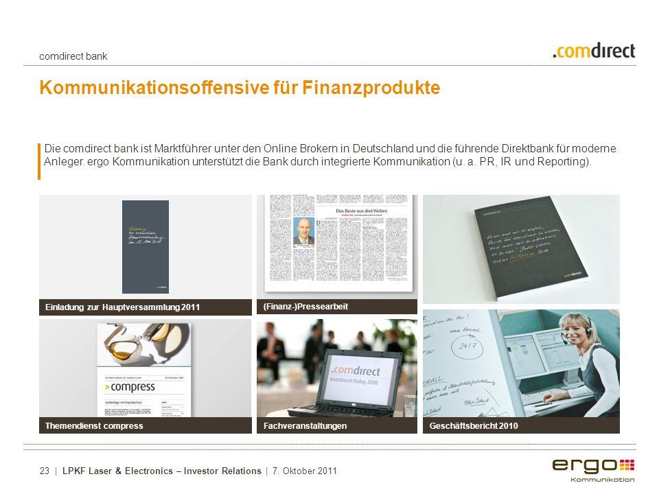 Kommunikationsoffensive für Finanzprodukte