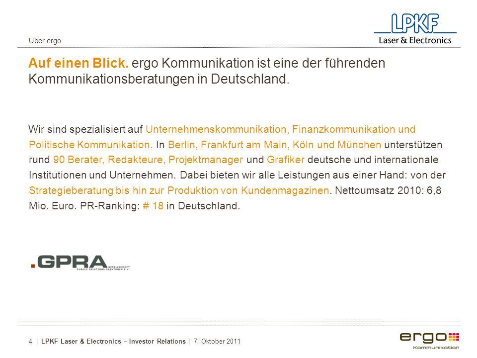 Über ergo Auf einen Blick. ergo Kommunikation ist eine der führenden Kommunikationsberatungen in Deutschland.