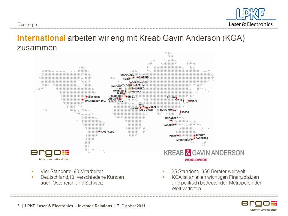 Über ergo International arbeiten wir eng mit Kreab Gavin Anderson (KGA) zusammen. Vier Standorte, 90 Mitarbeiter.